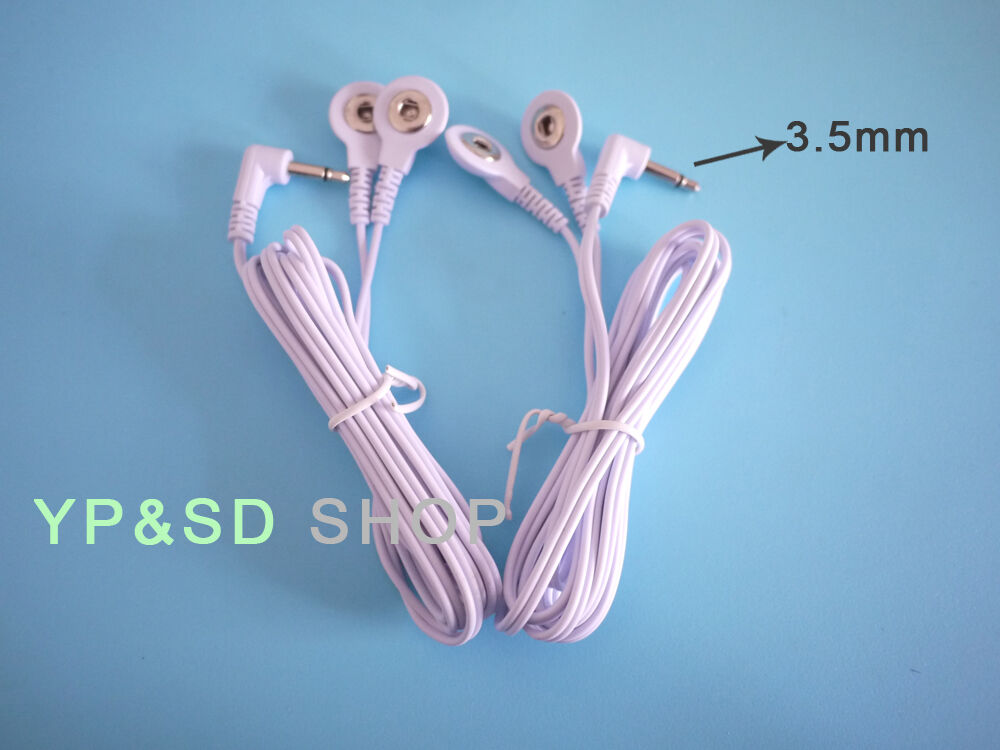 Details about 2x TENS ELECTRODE LEAD WIRES /CABLE DC 3.5mm Jack Plug 2in1 Stud/Snap CONNECTION