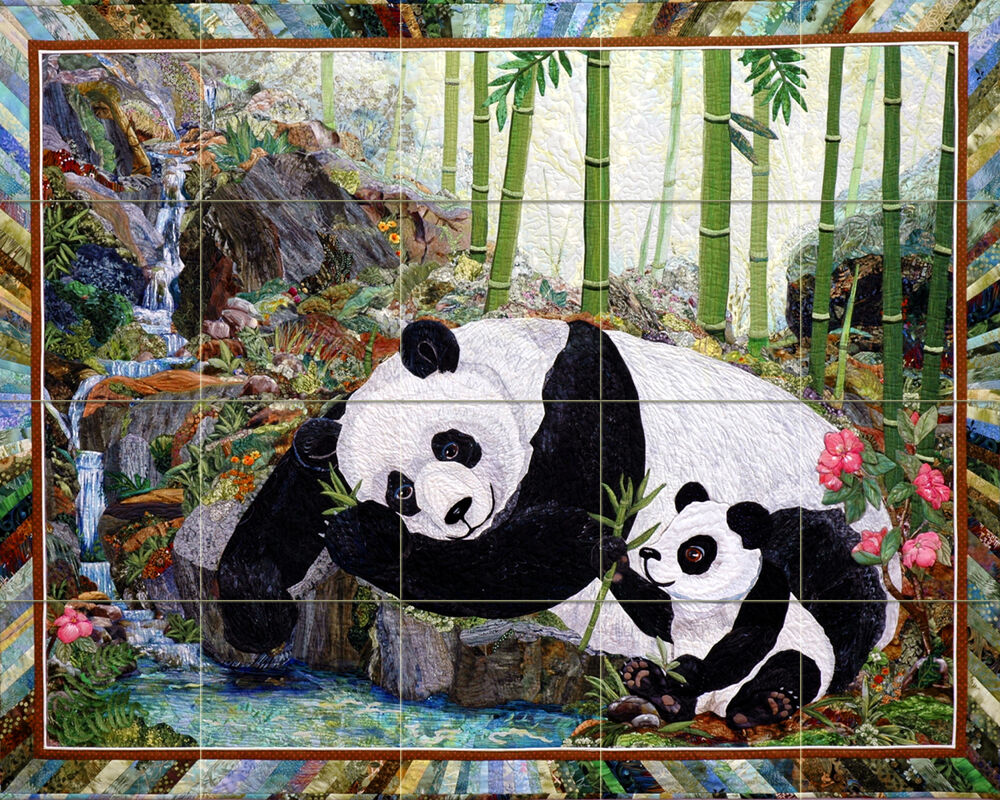Contemporary art kathy mcneil wildlife panda mural ceramic for Crossing the shallows tile mural