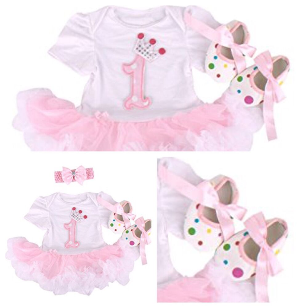 BABY GIRLS FIRST 1st BIRTHDAY OUTFIT TUTU SKIRT with SHOES