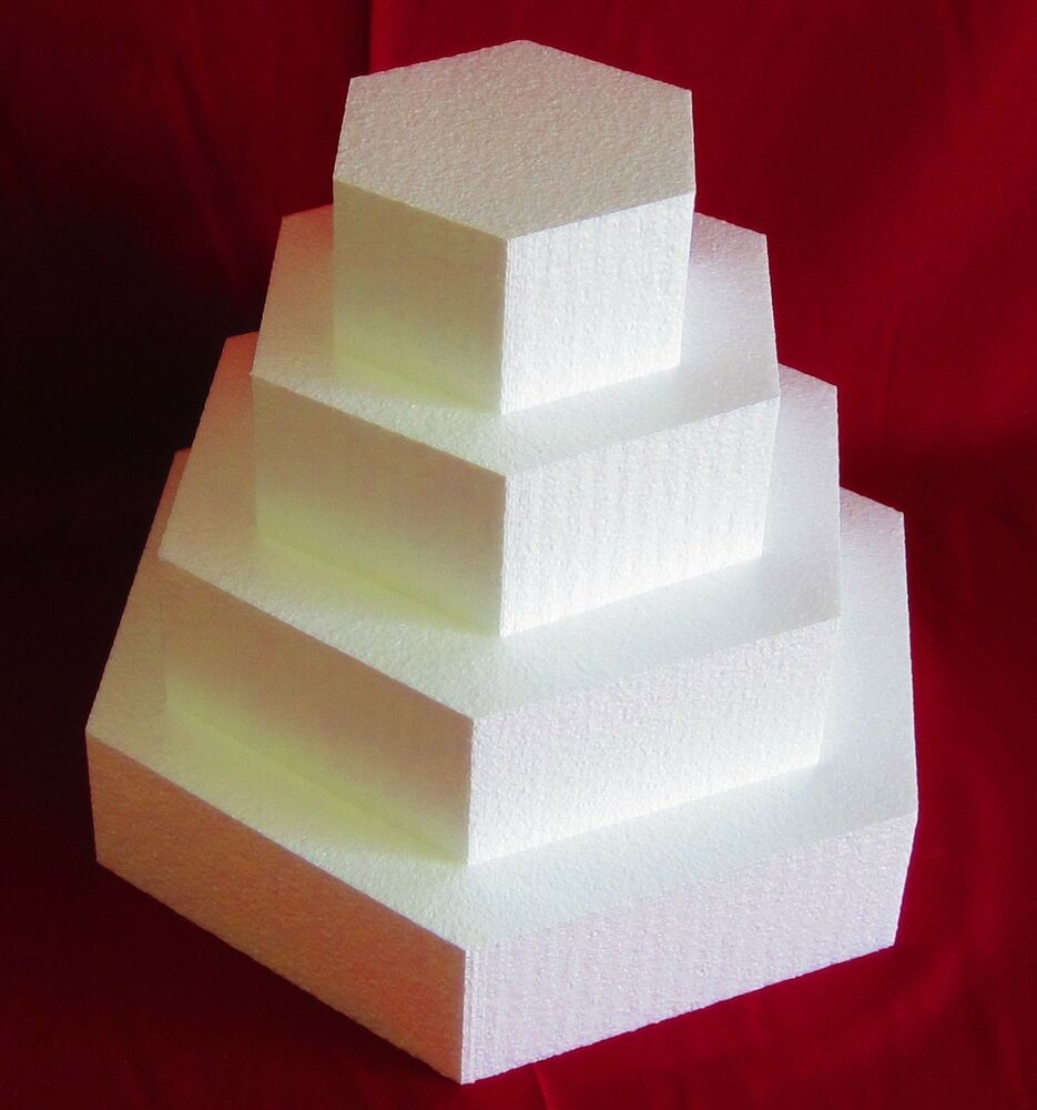 New Foam Cake Dummy Set 4 Pc Hexagon 6 Quot To 15 Quot At 3 Quot Thick