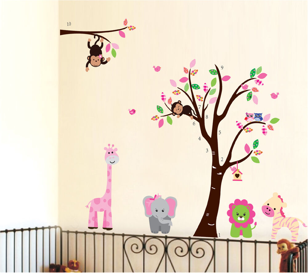 Wall Decor Stickers Nursery : Large monkey owl animal tree wall art decal removable
