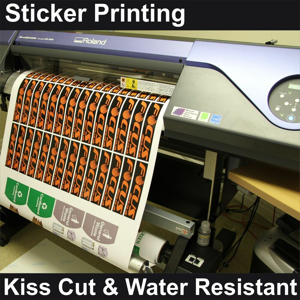 sticker printing custom printed kiss cut vinyl stickers labels any shape size ebay. Black Bedroom Furniture Sets. Home Design Ideas