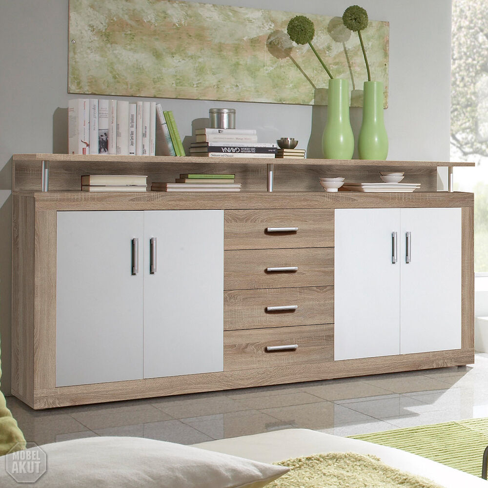 sideboard juno kommode sonoma eiche und wei 195 cm breit ebay. Black Bedroom Furniture Sets. Home Design Ideas