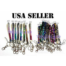 Rhinestone Bling Crystal Cell Phone Holder Key Chain Wristlets Lanyard Mix Color