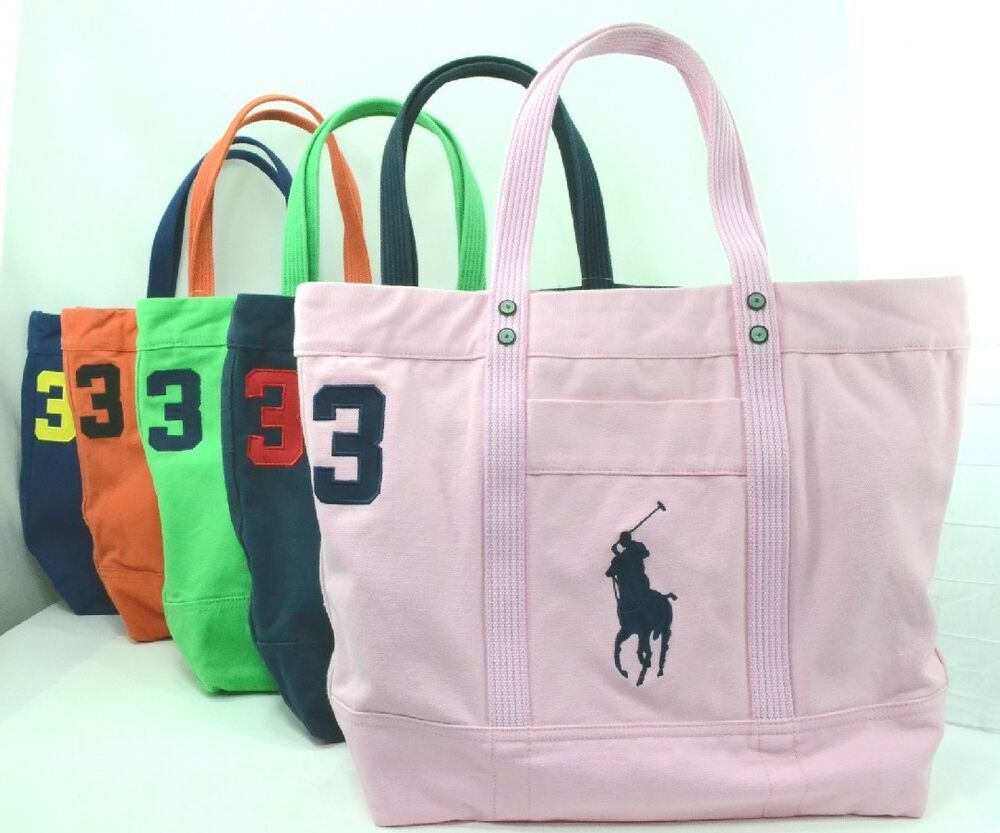 POLO RALPH LAUREN Big Pony Large Canvas Zipper Tote Travel Beach ...