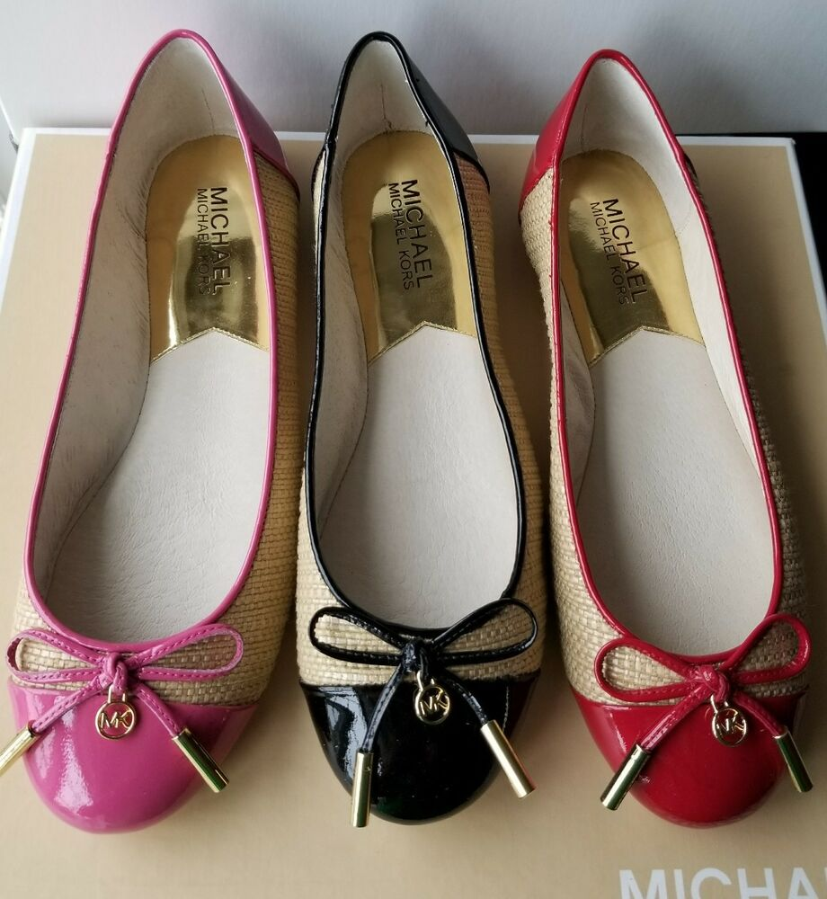 michael kors jordana straw patent mk logo charm sexy ballerina flats ebay. Black Bedroom Furniture Sets. Home Design Ideas