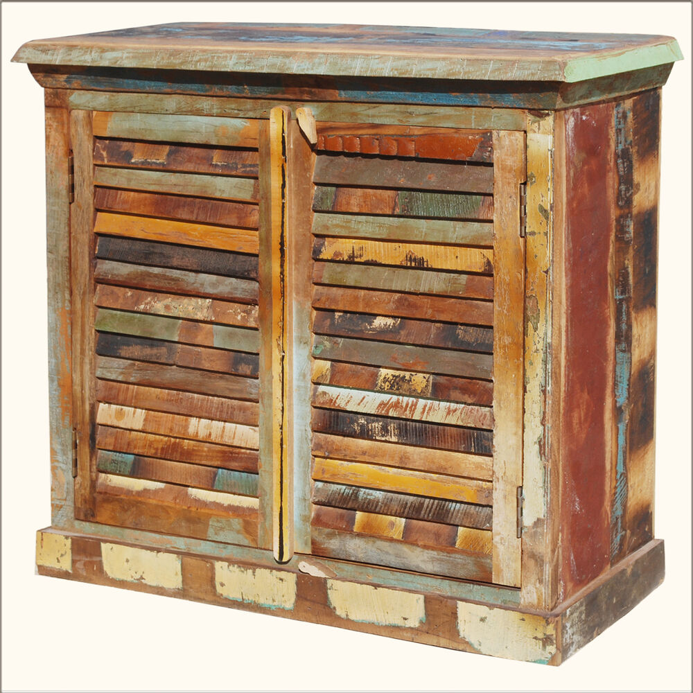 Rustic old reclaimed wood weathered distressed sideboard