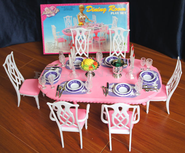 barbie dining room set | GLORIA DOLL FURNITURE BARBIE NEW DINING ROOM 6 CHAIR W ...