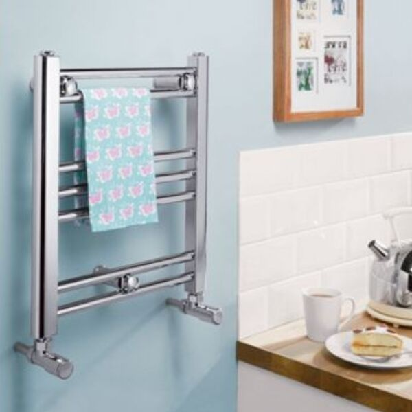 Romano Small Dual Fuel Chrome Heated Towel Radiator Rail Straight Flat Electric Ebay