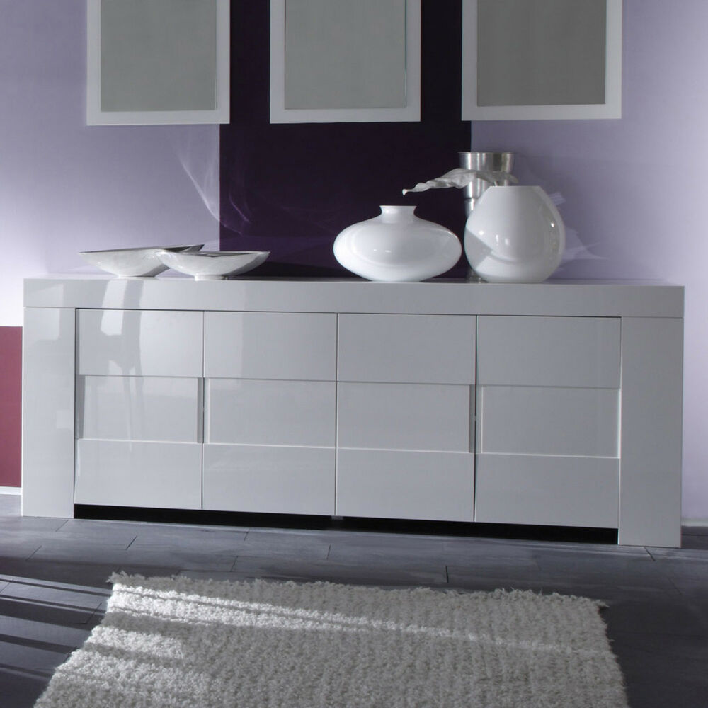 sideboard eos kommode wei echt hochglanz lackiert 210 cm breit ebay. Black Bedroom Furniture Sets. Home Design Ideas