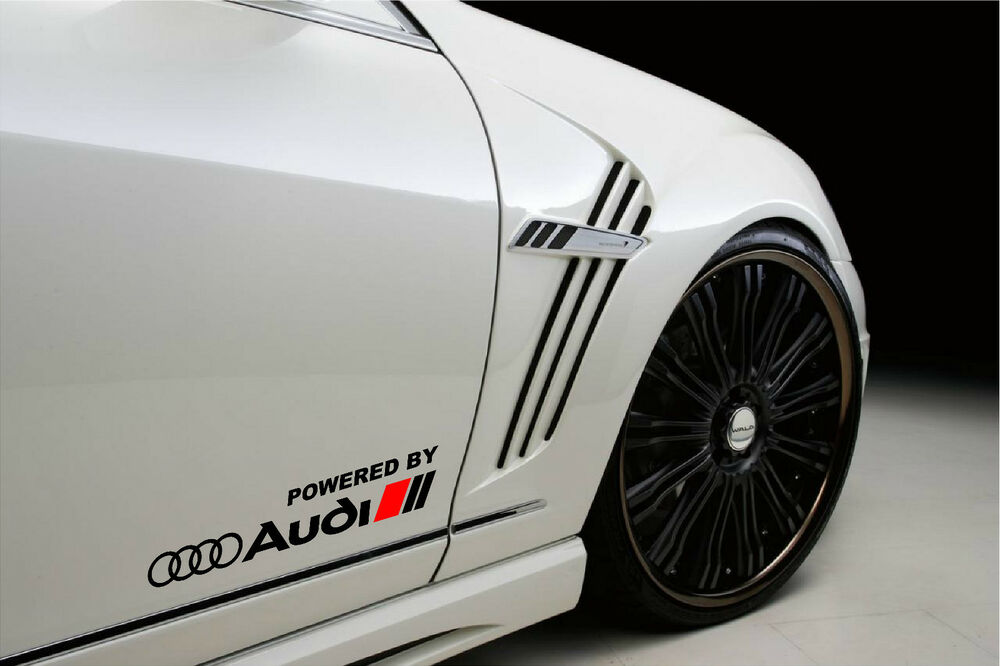 powered by audi racing sport s line decal sticker emblem. Black Bedroom Furniture Sets. Home Design Ideas