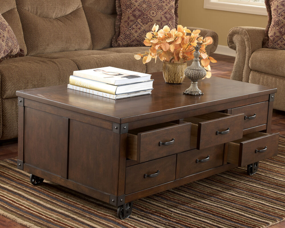 rustic brown traditional living room cocktail coffee table storage rectangular ebay. Black Bedroom Furniture Sets. Home Design Ideas