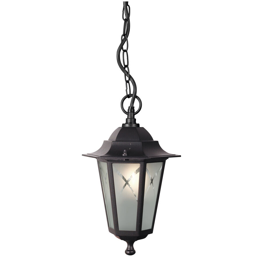 Stylish Outdoor Hanging Lantern Light In Black Metal Finish IP44 By Philips