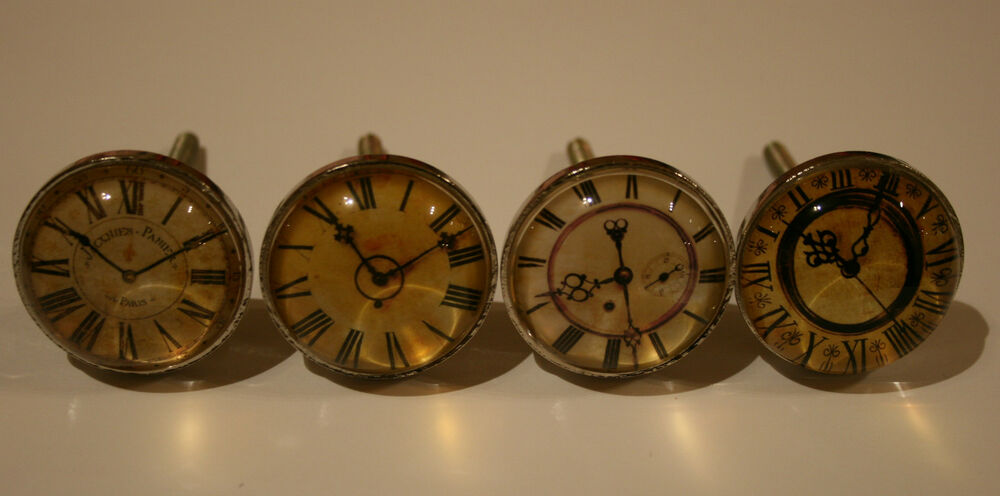 Vintage Chic Clock Face Drawer Cupboard Handle Pull Knob