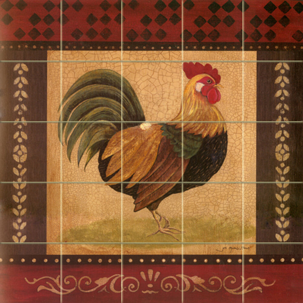 Art mural ceramic rooster backsplash decor tile 142 ebay for Art nouveau tile mural
