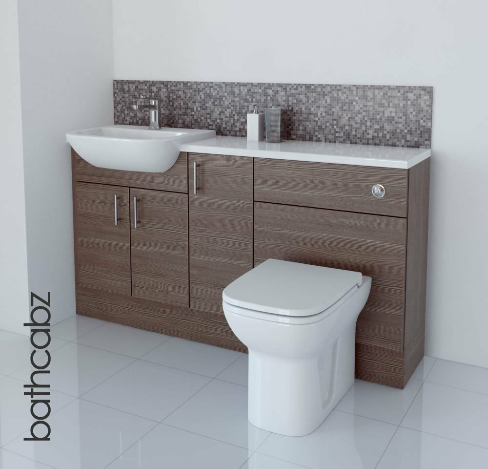 Grey brown bathroom fitted furniture 1500mm ebay for Bathroom furniture