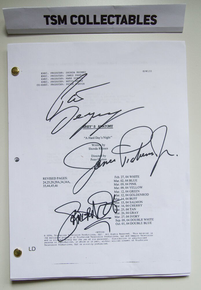 GREY\'S ANATOMY autographed script Patrick DEMPSEY James PICKENS ...