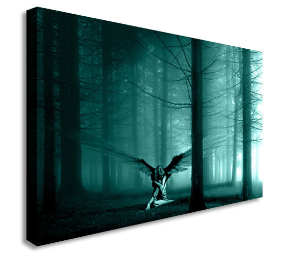 Angel in the woods teal wall picture canvas art cheap for Cheap art prints on canvas
