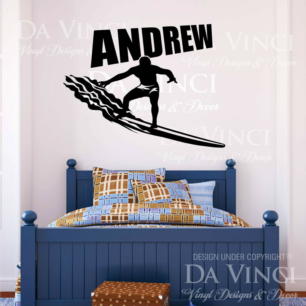 surfer surf wall room personalized custom name vinyl wall