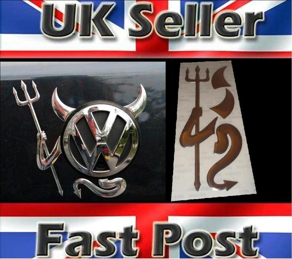 3D Dome Devil Demon Car Sticker Decal Badge Silver Chrome