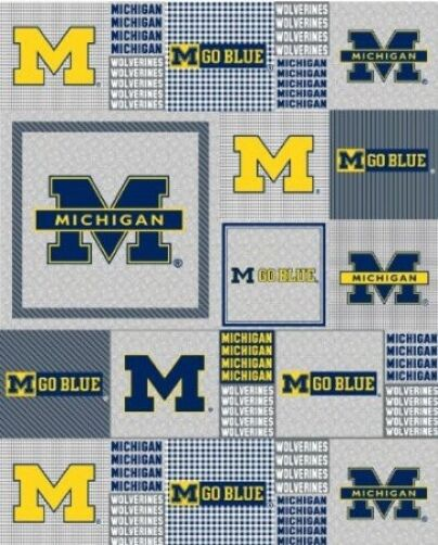 college university of michigan um grey fleece fabric print by the yard mchg158s ebay. Black Bedroom Furniture Sets. Home Design Ideas