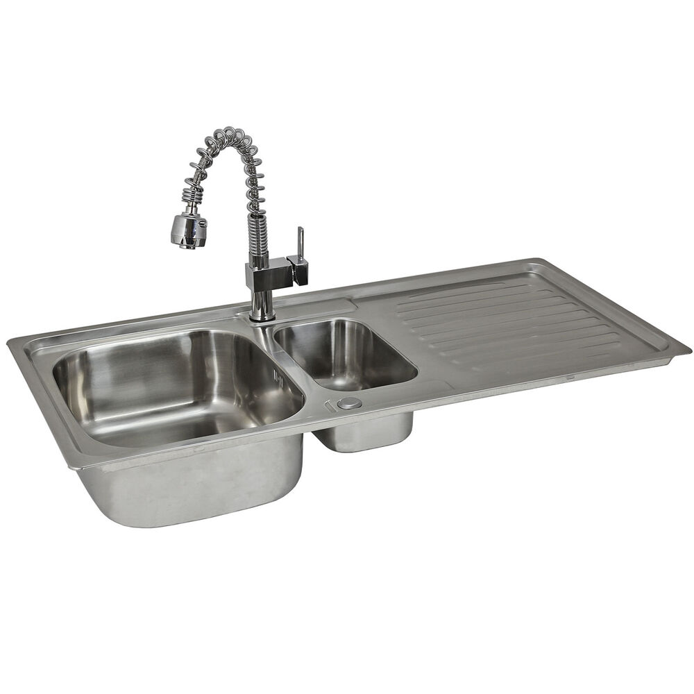 Kitchen Sink Waste Kit: Reversible Kitchen Sink Stainless Steel 1.5 Bowl Pull Out