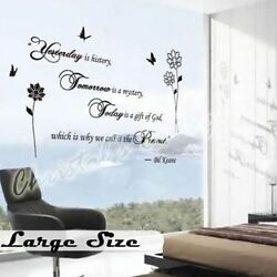 Fancy Writing Yesterday Today Tomorrow Quote Wall Art Decals Decoration Stickers