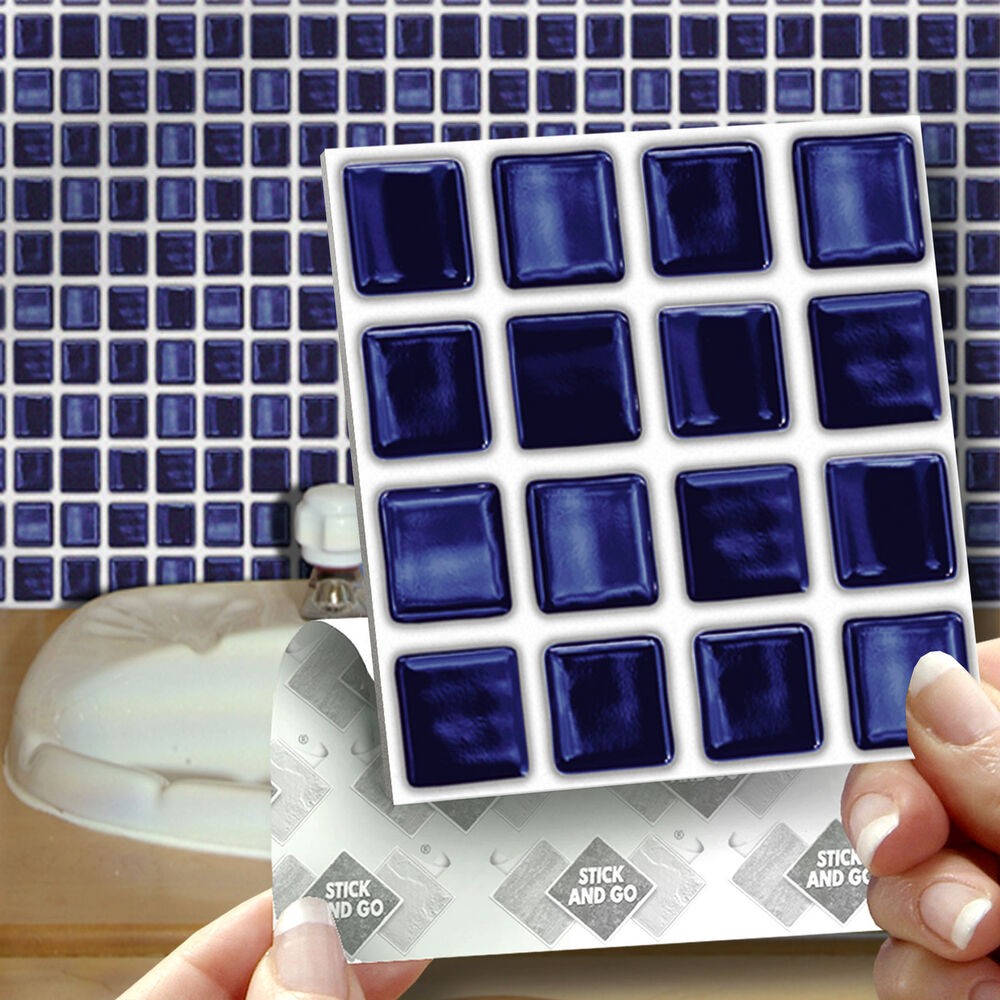 18 Stick Amp Go Deep Blue Self Adhesive Wall Tiles For