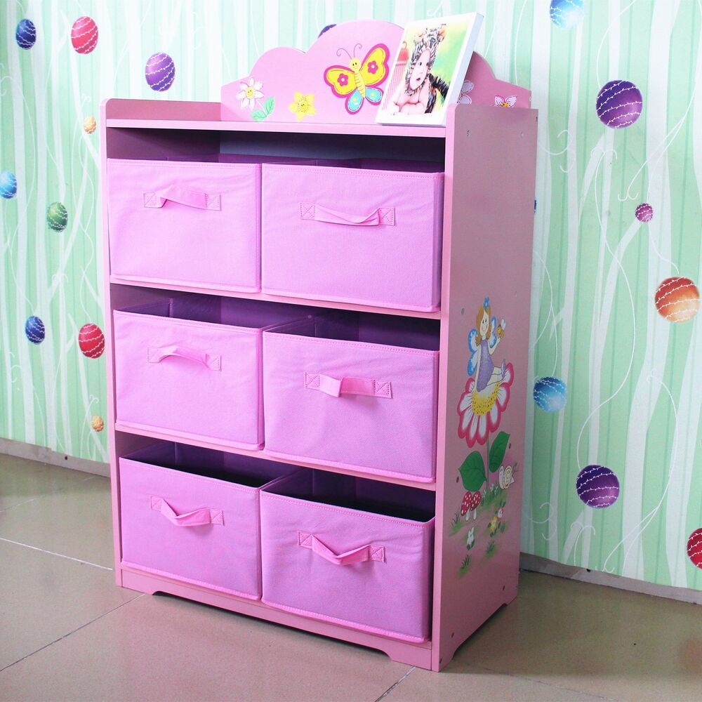 hand painted pink girl fairy toy storage ogranis box bookcase kids furniture ebay. Black Bedroom Furniture Sets. Home Design Ideas