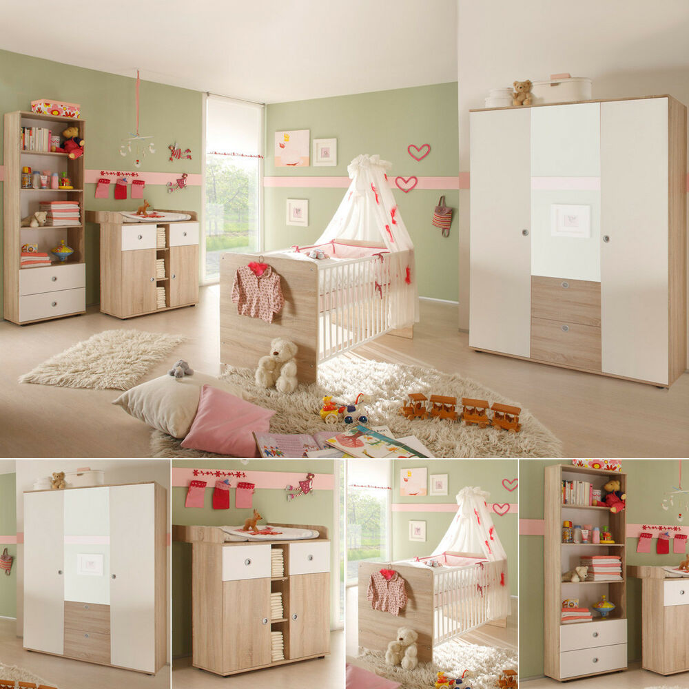 babyzimmer 4 teilig wiki komplett kinderzimmer sonoma eiche s gerau und wei ebay. Black Bedroom Furniture Sets. Home Design Ideas