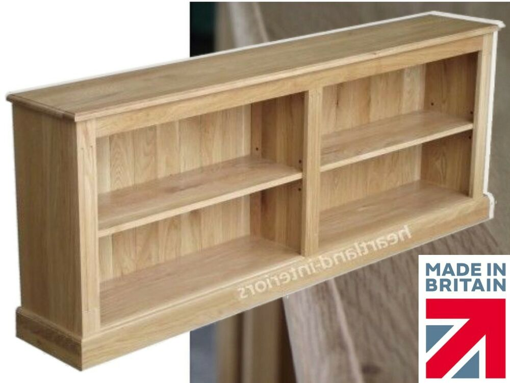 Solid Oak Bookcase Low 6ft Wide Split Adjustable Display