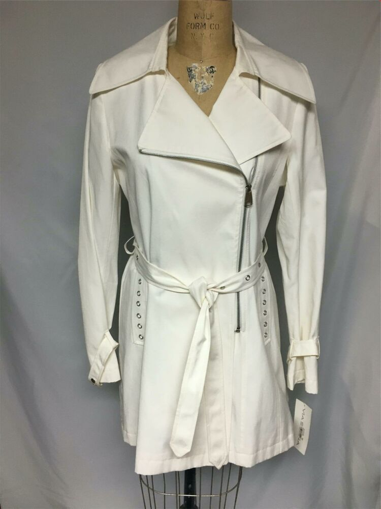 Via Spiga Double Breasted Pleated Bottom Trench Jacket  Pearl NWT