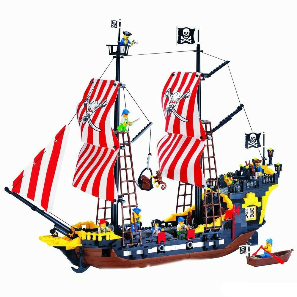 Toy Pirate Lego : New building blocks toy caribbean pirate ship boat gift