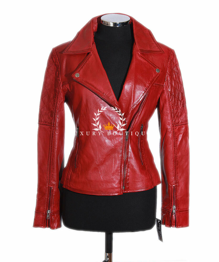 Erica Red Women's Ladies New Biker Style Fashion Real ...