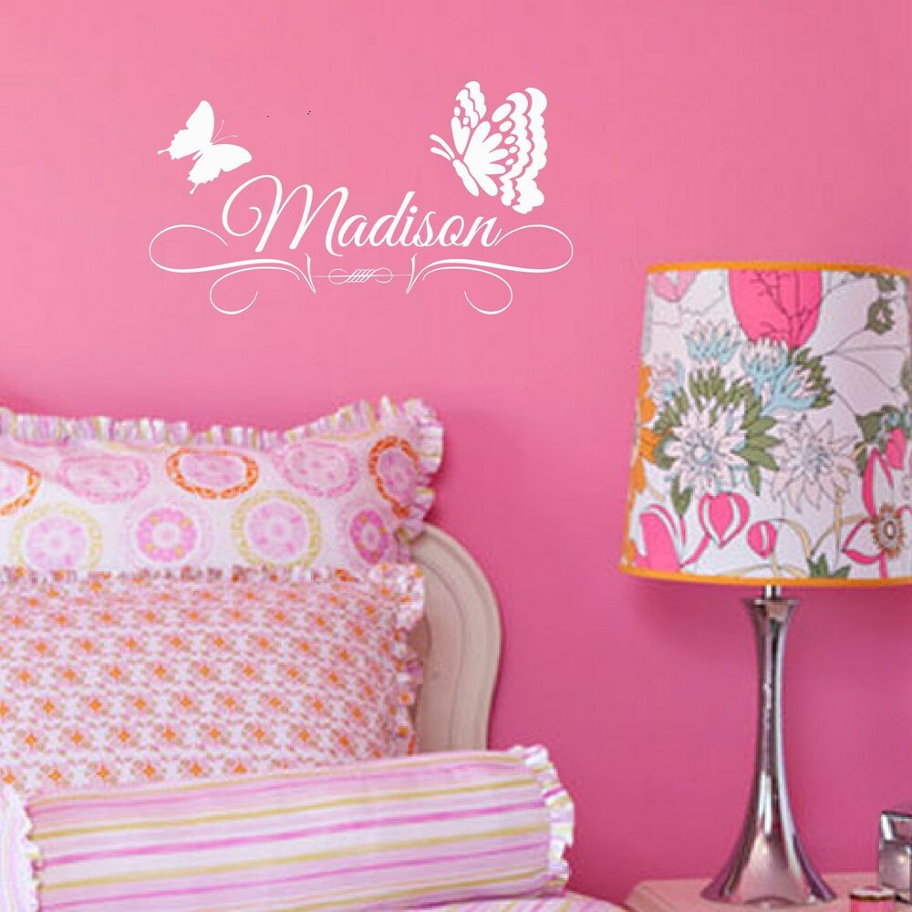 Custom butterfly vinyl decal girls personalized wall ebay for Customize wall mural