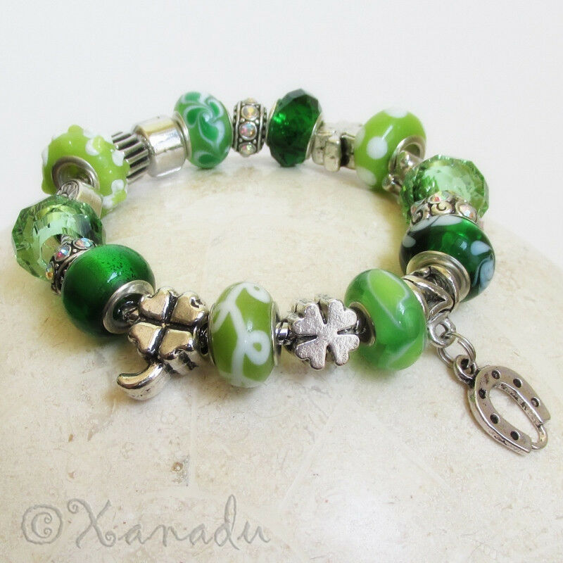 European Charm Bracelets: Green Lucky Charms European Charm Bracelet W Four Leaf