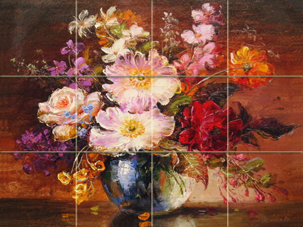 Art colorful flowers vase mural ceramic bath backsplash for Ceramic mural painting