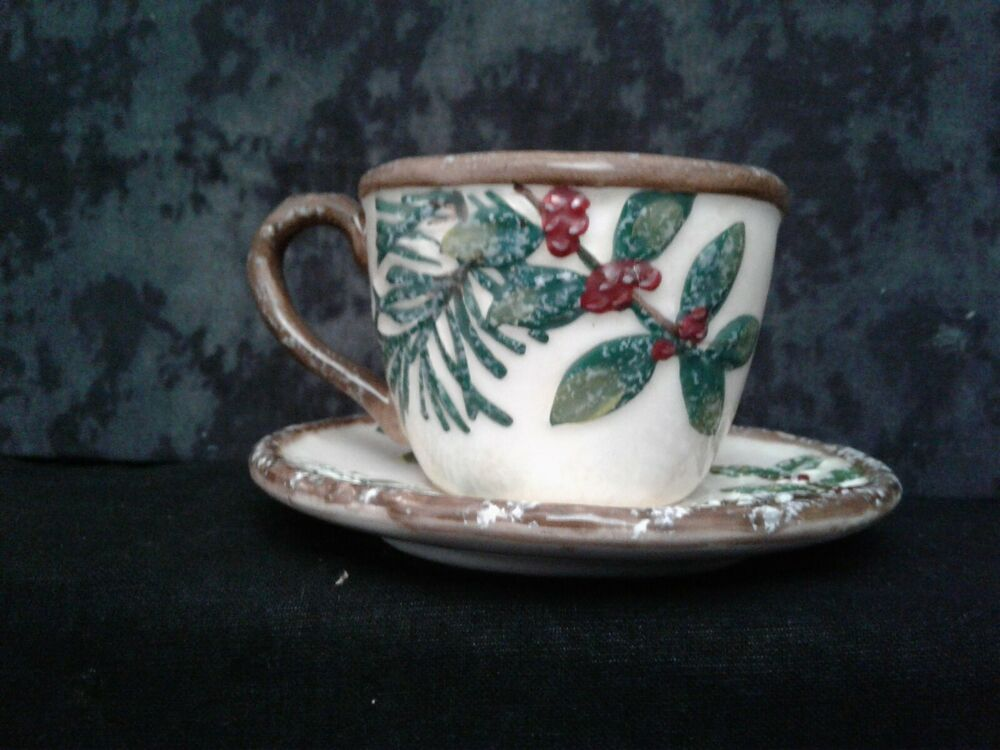 Yankee candle christmas greenery teacup and saucer votive for Christmas pillar candle holders