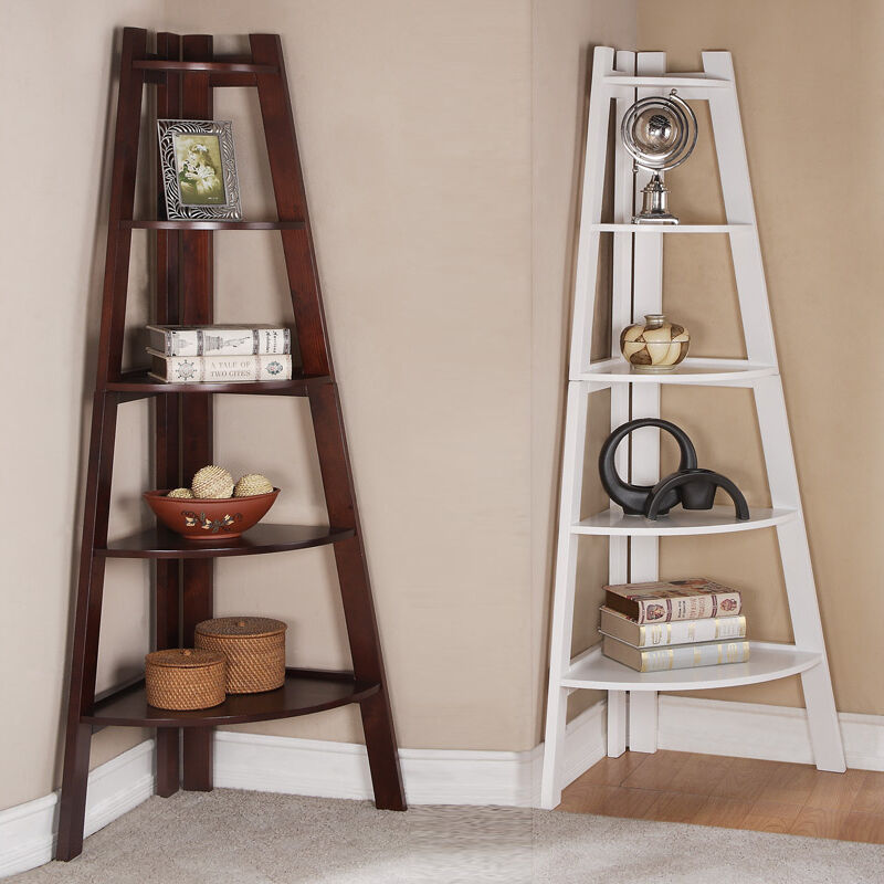 Walnut white 5 tier corner shelf bookcase bookshelf for Modern corner bookshelf