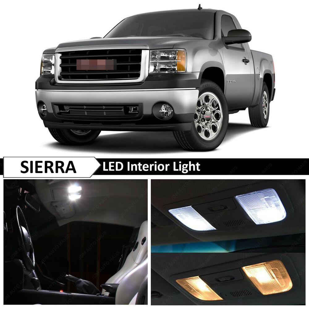 14x white interior led lights package kit for 2007 2013 gmc sierra ebay. Black Bedroom Furniture Sets. Home Design Ideas