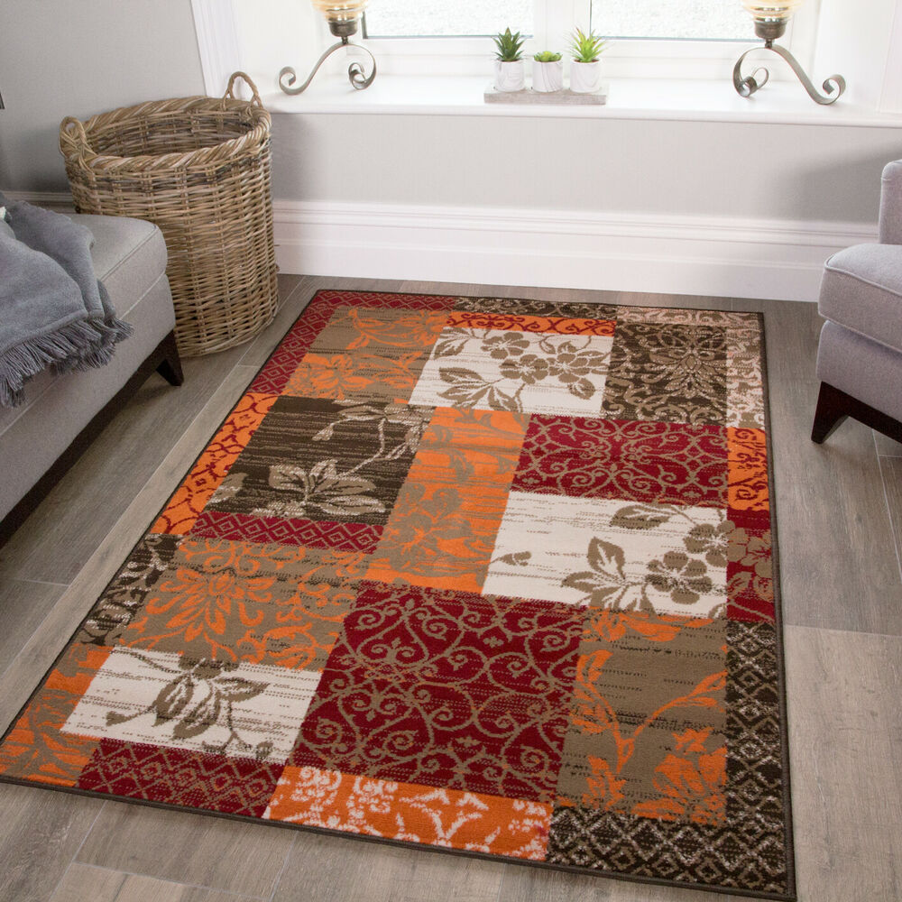 New warm red orange modern patchwork rugs small large for Modern living room rugs