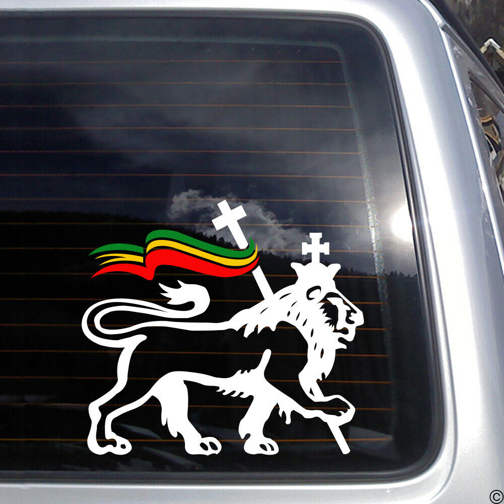Lion of judah with rasta flag vinyl decal reggae ska bob marley car sticker k157 ebay