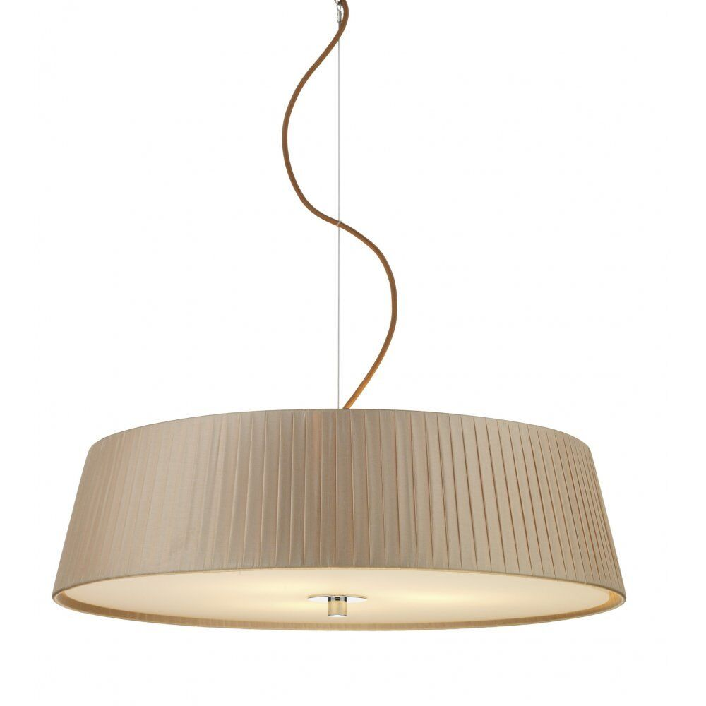 Stunning Ceiling Light With Mink Fabric Drum Shade & Glass