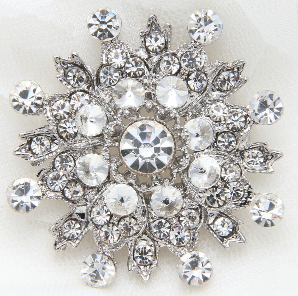 Wedding Bridal Snowflake Rhinestone Crystal Brooch Pin ...