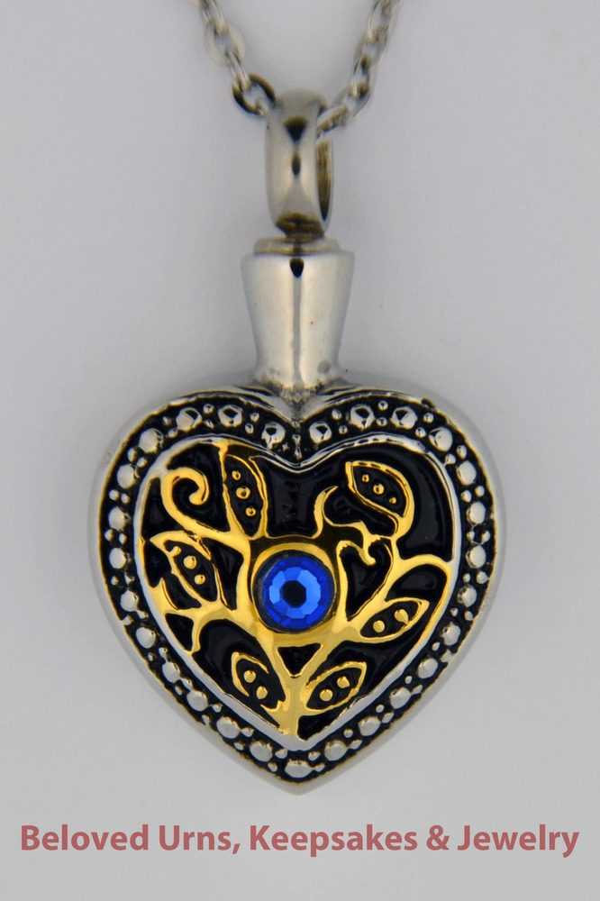 gold and silver with blue cremation jewelry