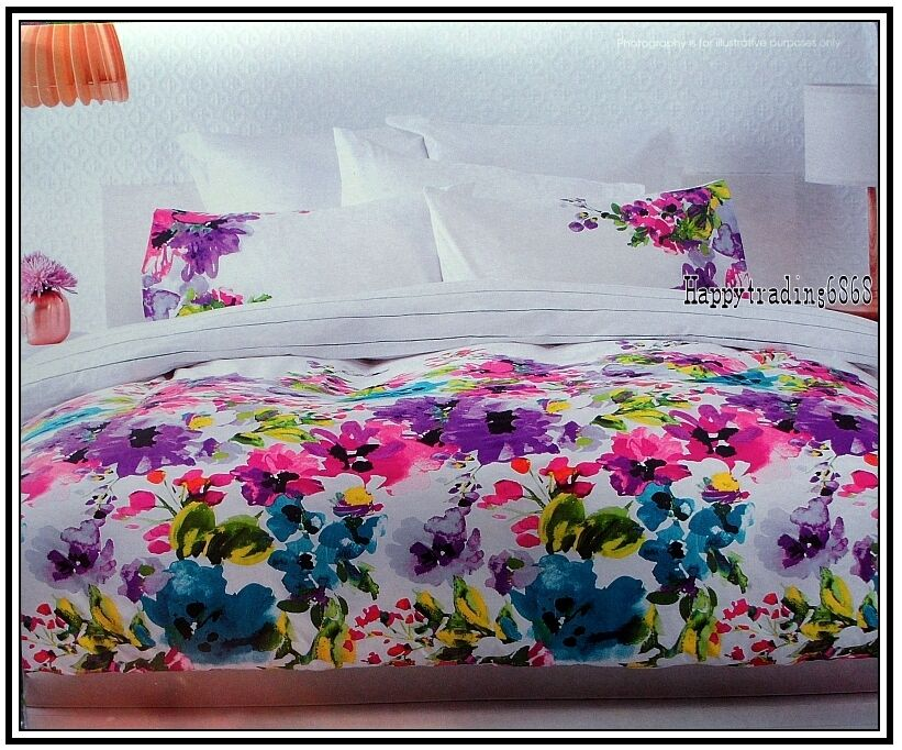 White Pink Green Purple Flower * KING QUEEN DOUBLE SINGLE QUILT DOONA COVER SET