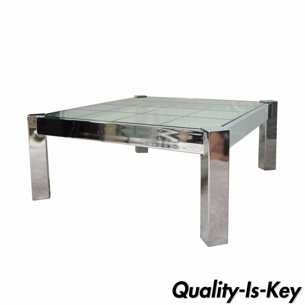 Square Coffee Table: Vintage Mid Century Modern Chrome Etched Glass Square