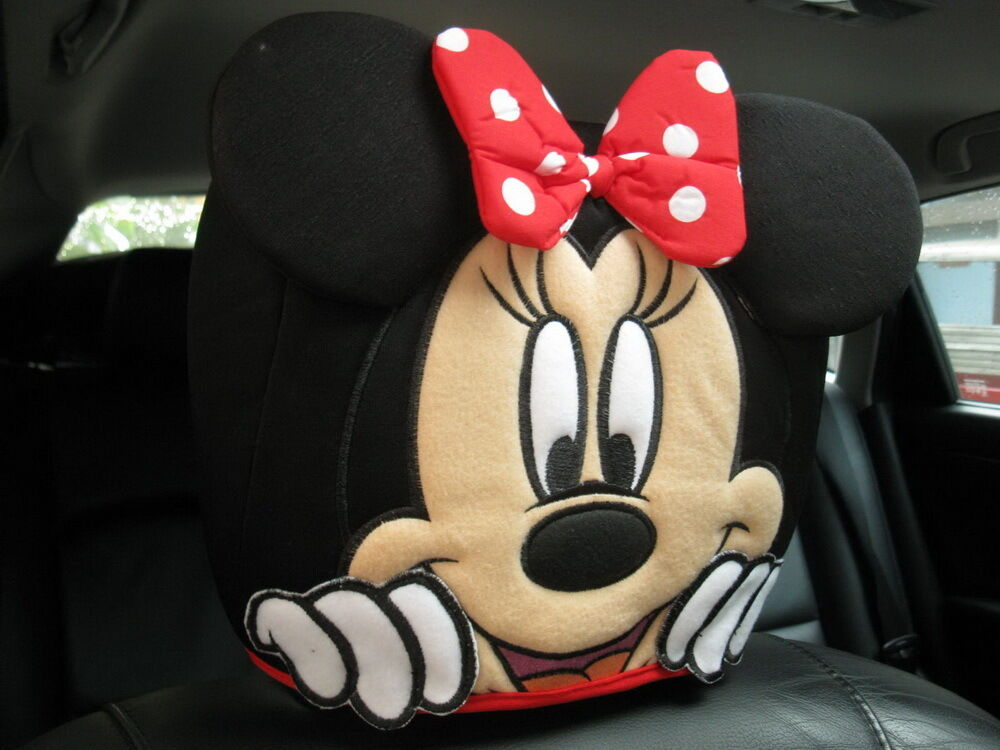 Minnie Mouse Car Accessory Red 2 Pcs Head Rest Covers