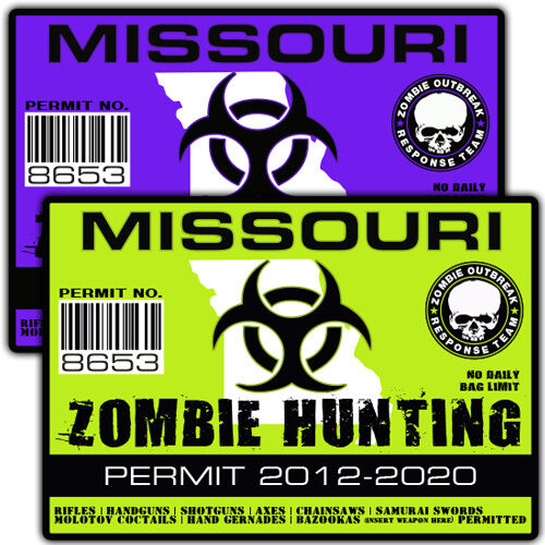 Missouri zombie outbreak response team decal zombie for Mo fishing license