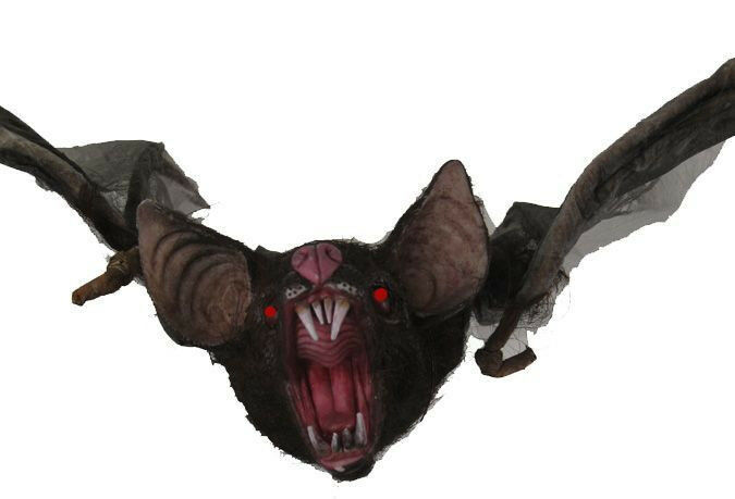 Halloween bat with light up eyes 54 inches haunted house for Animated flying bat decoration